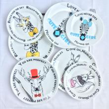 8 Inches Wholesale Ceramic Cartoon Animal Dinner Plates