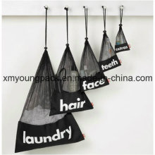Werbeartikel Custom Black Drawstring Wäsche Nylon Mesh Bag 40X60cm