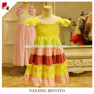 Cap sleeve rainbow dress ruffle one-piece dress