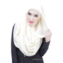 Verão elegância legal Dubai cor sólida chiffon muçulmano hijab cap e cachecol twinset