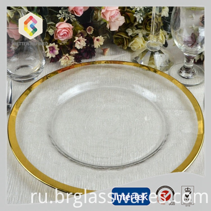 Gold rim cheap glass charger plate for wedding