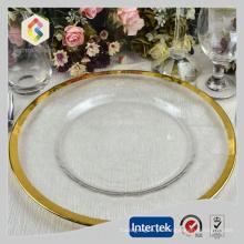 Placas de carregador de vidro borda ouro atacadas
