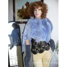 Кашемировый платок с голубой лисы Рекс кролика отделка
