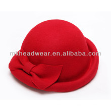 Venta al por mayor de lana de lana de fieltro sombreros pequeño redondo sombrero de copa sombrero con Bowknot