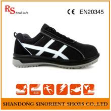 Sapatos de segurança de aço preto com boa qualidade camurça couro RS806