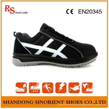 Zapatos de seguridad de acero negro con buena calidad Gamuza de cuero RS806