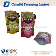 Sachet debout de sauce de 500ml QUICK COOK avec le bec / emballage en aluminium debout rayé de produit