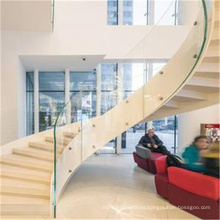 High quality double curved stringer staircase/steel glass spiral stair