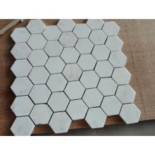 Mosaico de mosaico hexagonal Mosaico de piedra de mármol blanco (HSM229)