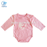2017 Latest Long Sleeve Baby Girls Clothes Puff Sleeve Pink Baby Jumpsuit With Lace And Bow