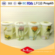 Tasse en céramique CIQ 425ml Belle impression de fleurs Tasse à thé Tasse à café avec couvercle en céramique pour BS131127B