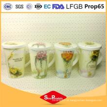 CIQ caneca de cerâmica 425ml Caneca de café bonita caneca de impressão da flor copo com tampa de cerâmica para BS131127B