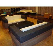 Mobiliário de jardim preto sofá do rattan