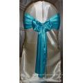 Baratos turquesa azul cetim cadeira faixas para casamentos
