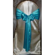 Дешевые бирюзовый голубой атлас стулья Sash для свадеб