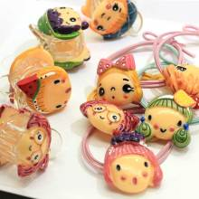 Venta al por mayor de resina de dibujos animados Baby Girl Head Ponytail Titulares Elastic Hair Tie Cuerda Anillos Pigtail Holders Elastic Rubber Band Ring