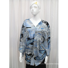 Lady Fashion Paisley Printed Polyester Chiffon Silk Shirt (YKY2215)