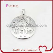 Стальной круглой формы из нержавеющей фламинго кулон ожерелье
