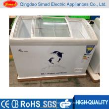 Congelador de peito de vidro curvado superior da porta deslizante