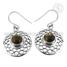 Scrumptious Tiger Eye Gemstone Earring 925 Sterling Silver Atacado Jóias Jaipur Handmade Silver Jewelry