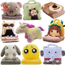 Пользовательские симпатичные 2 в 1 Сова Медведь Слон Кролик Эмодзи Единорог Кукла одеяло игрушки головой животного плюшевые Детское одеяло подушку для путешествий