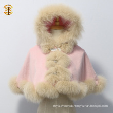 Lovely Kid Short Style Pink Fox Fur Cashmere Cape with Real Fox Fur