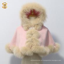 Lovely Kid Short Style Pink Fox Fur Cashmere Cape com pele de raposa real