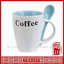 Taza de café de cerámica cuchara en mango, taza de café de cerámica con cuchara