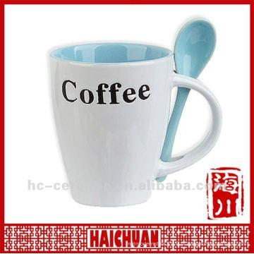 Caneca de café cerâmica colher no punho, caneca de café cerâmica com colher