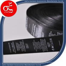 Etiqueta de impresión de satén de ventas al por mayor / etiqueta de cuidado de lavado para la etiqueta de la ropa