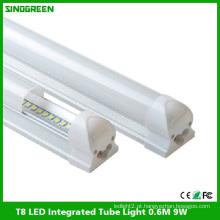 Alta qualidade T8 LED integrado tubo luz LED tubo lâmpada 0.6m 9W
