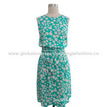 Woven dress, round neck, made of 100% printing polyester
