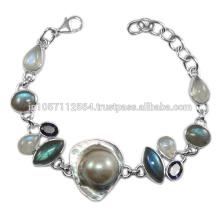 Natürliche Blister Perle Iolite Labradorit & Regenbogen Mondstein Edelstein mit 925 Sterling Silber Armband