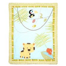 Patchwork Quilt for Baby with Tiger and Bird Sweet Design for Baby