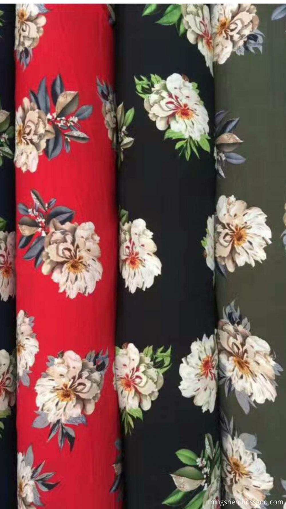 Poly weave print fabric 006