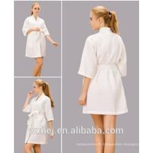Vente en vrac blanc blanchi 50% coton 50% polyester robe de spa gaufre