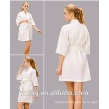 Bulk sale white bleached 50% cotton 50% polyester waffle spa robe
