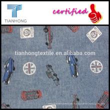 100 algodón tela cruzada armadura hilados teñidos chambray posterior con coche de impresión para la camisa de los niños