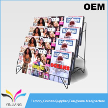 Foldable Design Metal Countertop Literature Rack for Publications and Magazine