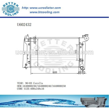 Radiador Para TOYOTA 96-03 Corolla Auto 164000D230 / 164000D240 / 164000D250 Fabricante y Venta Directa