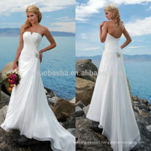 2014 Stunning Beach Style Wedding Dress Strapless Asymmetrical Pleated Bodice Low Zipper Long Chiffon A-Line Bridal Gown NB0900