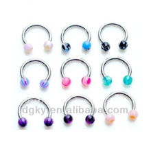 Acrylic ball Horseshoes nose ring piercing