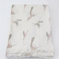 nice quality beige background color and bird printed square scarf fringe on four side