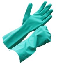 NMSAFETY CE certificada EN388 EN374 luvas de nitrilo verde industrial