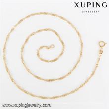 43252 Xuping trendy ocidental simples banhado a ouro colar de liga de cadeia longa