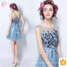 Cestbella Blue Kurzes Stickerei Klassisches Silk Ärmelloses Chiffon Abendkleid