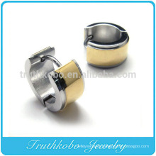 TKB-E0051 Surgical Stainless Steel Gold Striped Huggie Cuff Earrings