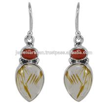 Precioso cuarzo de Rutilated y piedra preciosa coralina 925 joyería del pendiente de la plata esterlina