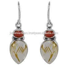 Lovely Rutilated Quartz And Coral Gemstone 925 Sterling Silver Earring Jewelry