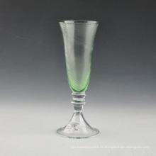 Flûte à champagne en verre soufflé vert soufflé à la bouche